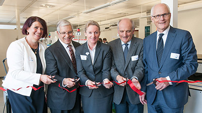 Inauguration of Laboratory (from left): Silvia Hardenbol, Business Director Central Europe, BD Life Sciences - Diagnostic Systems; Patrick R. Murray, PhD, Sr. Director, Worldwide Scientific Affairs, BD Life Science - Diagnostic Systems; Irmtraut Gürkan, Business Director, University Hospital Heidelberg; Prof. Dr. Klaus Heeg, Medical Director, Department of Medical Microbiology and Hygiene; Prof. Guido Adler, Chief Medical Director and Chairman of the Board.